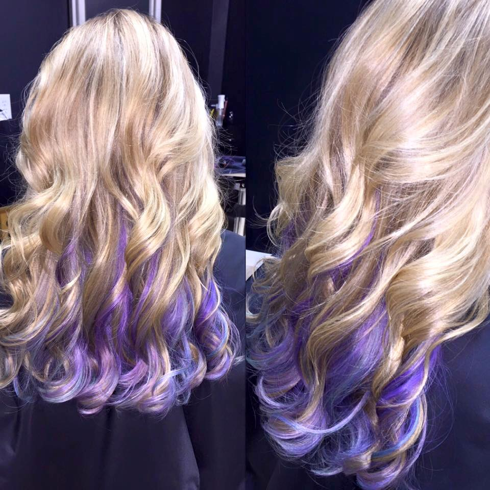long blond hair with purple end accenting