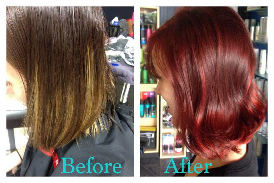 Mousy brown to rich red