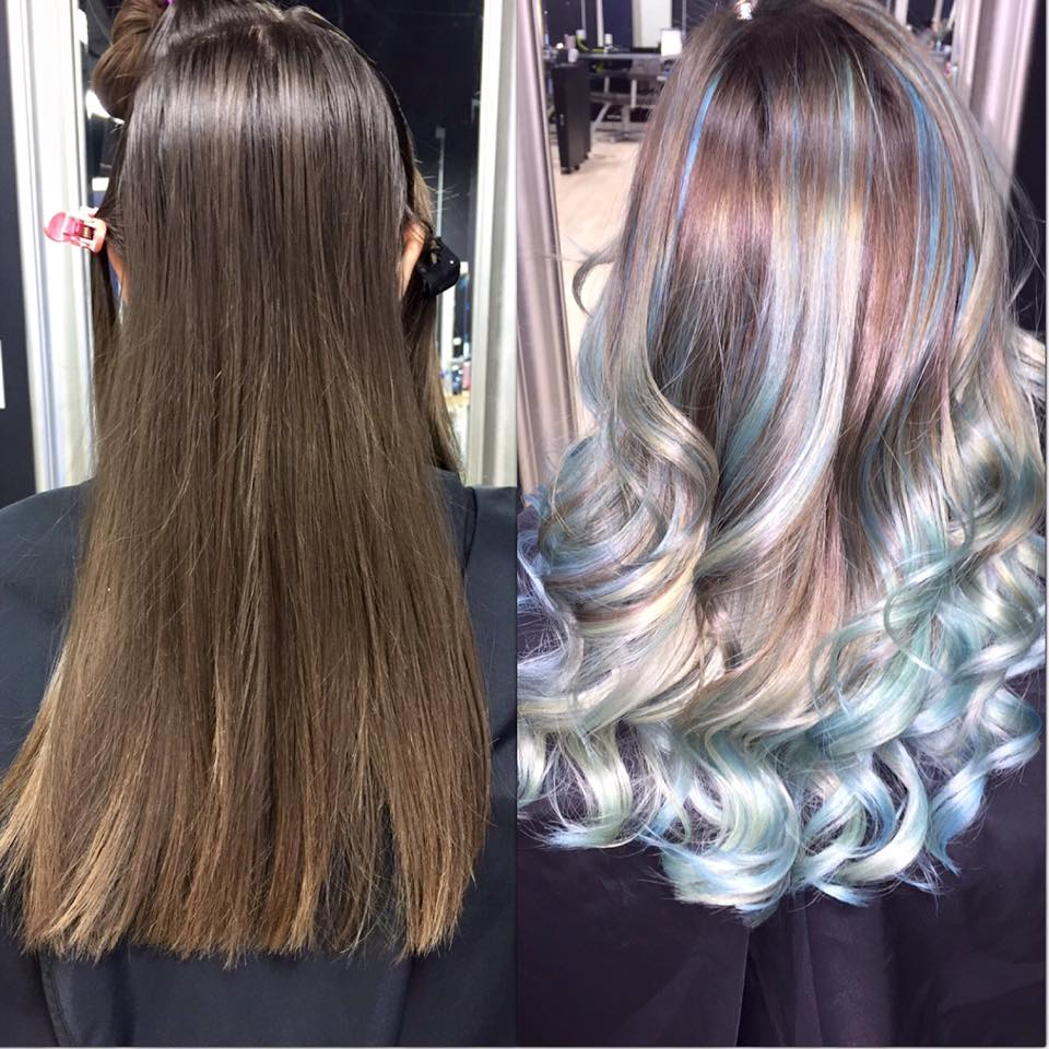 Long mousy hair before and after as a silver color with pastel highlights
