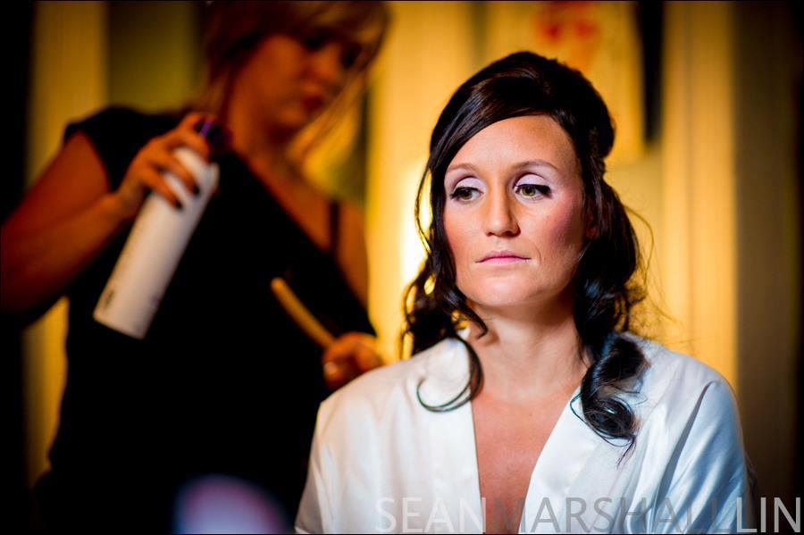 bridal hair and makeup being done by michelle