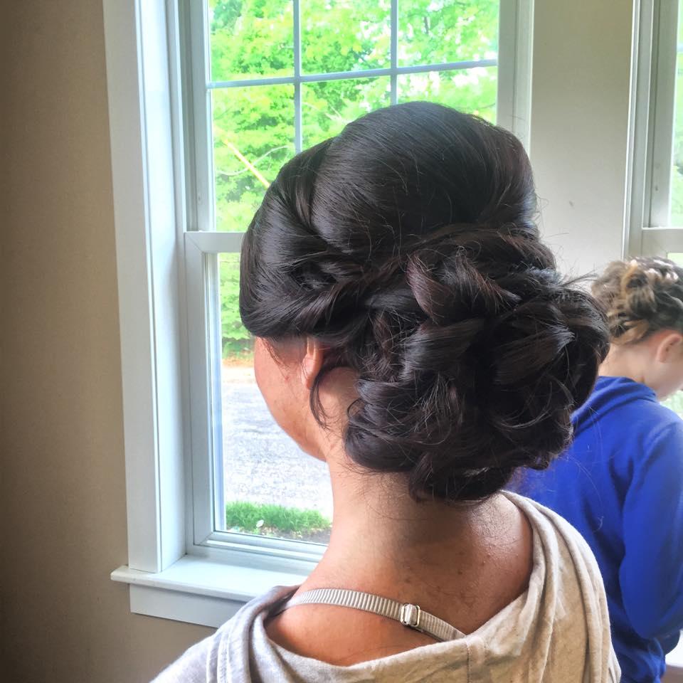 bridal updo on dark hair