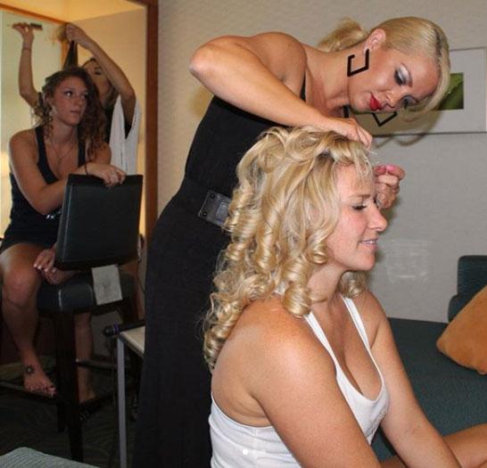 michelle doing hair for wedding
