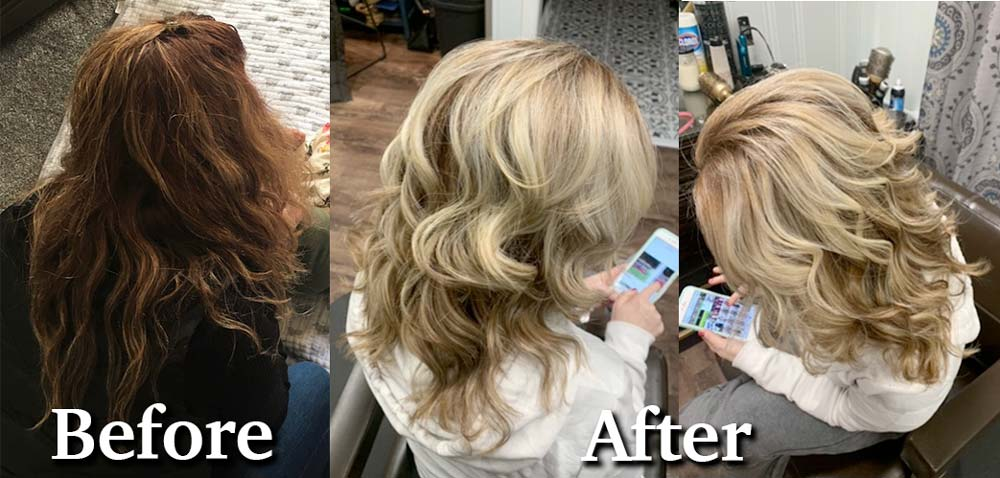 Before and after of blonde hair from brunette hair