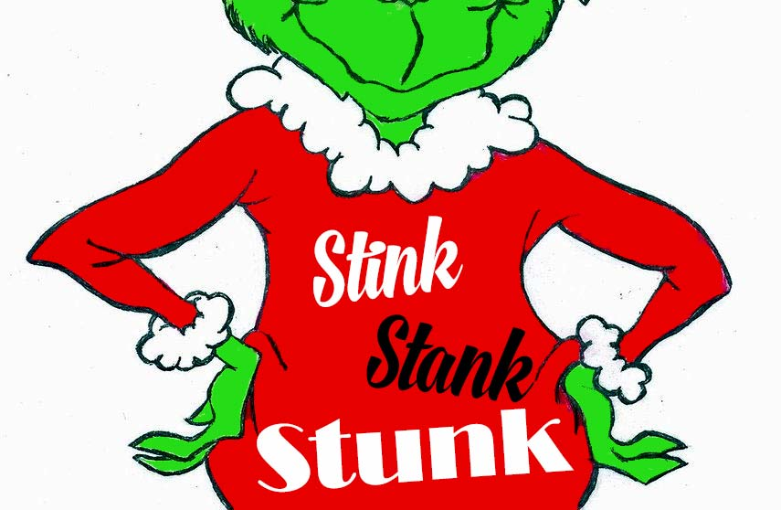 Grinch with shirt saying stink-stank-stunk