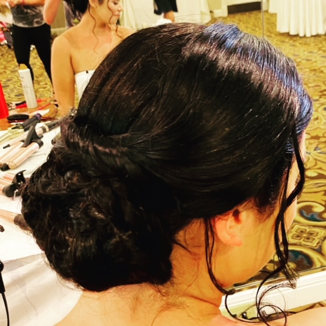 Side view of brunette with hair
